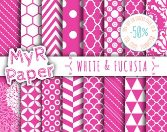 "SALE 50% Fuchsia Digital Paper: ""White & Fuchsia"" Digital Paper Pack and Backgrounds with Chevron, Damask, Triangles, Stripes and Polka Dots"
