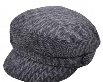 Fiddler Caps, Greek fisherman hat , classic bakerboy style Gnh herringbone - Dark-Grey