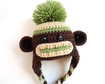 Newborn Crochet Brown and Green Sock Monkey Hat Photo Prop baby girl baby boy