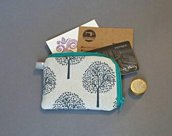Cotton Linen Coin Purse - Small Coin Purse - Tree Coin Purse - Floral Small Zipper Pouch