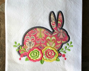 Easter Bunny Embroidered Towel - Dish Towel - Kitchen Towel - Spring Bunny Tea Towel - Personalized Kitchen Towel - Easter Hostess Gift
