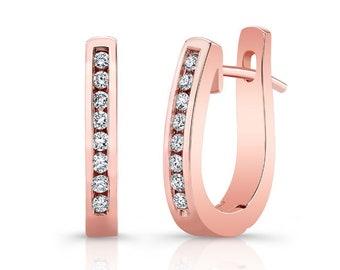 Barkevs, Rose Gold & Diamond Hoop Earrings, Gold Earrings, Diamond Earrings, Earrings, Hoop Earrings, Diamond Huggie Earrings, M2000EP