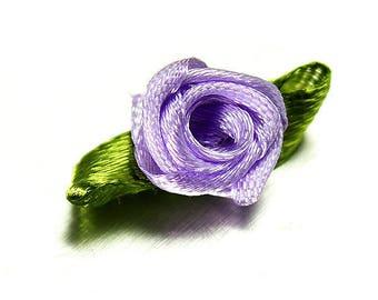 Pink Satin Ribbon leaf flower