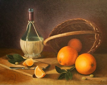 Still life Painting, Original Still life Oil  Painting, Still Life with Oranges, Oil on canvas board, 12x16 inches (30x40 cm)
