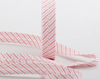 20MM folded cotton fabric: stripe and white/pink wave