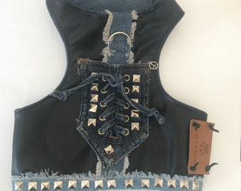 Black Leather Dog Vest, Punk Dog Vest, Black Leather and Denim Dog Harness, Born to Be Wild