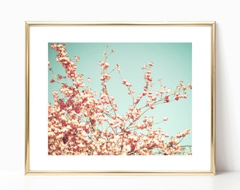 SALE Cherry blossom art, canvas art, girl nursery wall art girl nursery decor girl, large wall art, flower photography, blush pink wall art