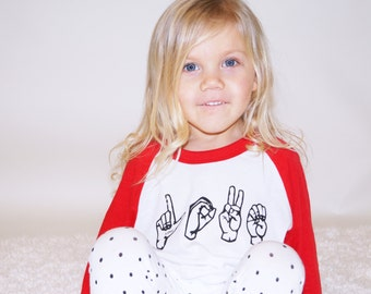 Love - Sign Language Kids Tee, Toddler t-shirt, Trendy kids clothes, Hipster kids clothes, child t-shirt, Screen Printed Shirts, Graphic Tee