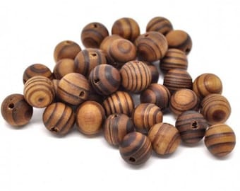 Set of 20 wooden beads - natural T3