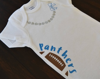 Panthers baby onesie, panthers baby bodysuit, football baby bodysuit, carolina football, panthers baby gift, carolina baby, nc football