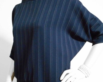 Batwing 00045 - Navy pinstripe batwing with collar and low back.