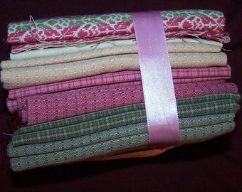 Quilt charms pack fat quarters fabric Pinks, greens, creams