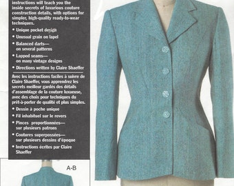 Claire Shaeffer's Custom Couture Jacket Unique Designs OOP Vogue Sewing Pattern V7908 Size 6 8 10 Bust 30 1/2 to 32 1/2 UnCut