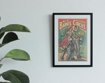 Vintage 1960s Al G. Barnes Wild Animal Circus Poster