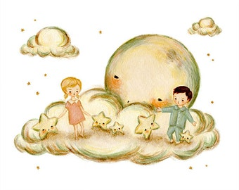 Dancing With The Stars 10x8 Print - Children's Art, Moon, Stars, Boy, Girl, Night, Nursery, Kids Decor, Art for Kids, Cute, Blue, Pink, Baby