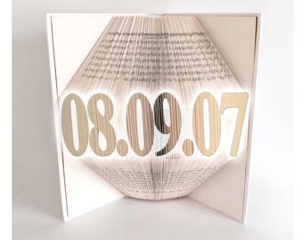 Book Folding Pattern - 3D Book Art - Book Fold - Bookami - CUSTOM DATE  - Personalised - 1st Anniversary Gift - Personalised Wedding - Gift
