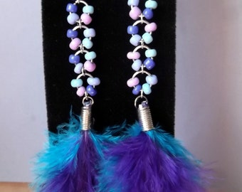 Fanciful Feather Fun Bead and Feather Earrings