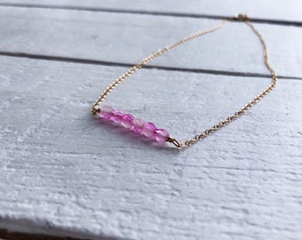 Beaded bar necklace/ gold fill necklace/ pink beaded necklace/ minimalist jewelry