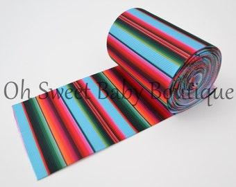"""Turquoise Serape Zarape Mexican Blanket 3"""" Ribbon 1 Yard Fiesta"""