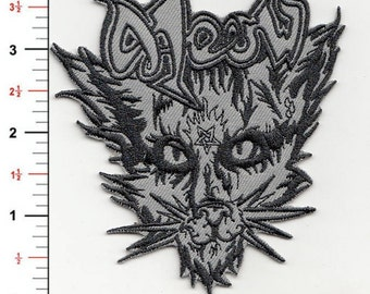 "4"" BLACK MEOWTAL VENOM patch iron on embroidered metal punk cat"