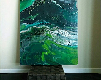 Green, Black and White Acrylic Flow Painting