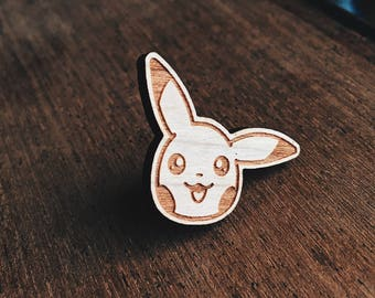 Pikachu Pokemon Wooden Pin - Japanese, Nintendo, Gamer, Pokemon Go, Pocket Monsters, video games, Enamel Pin, Enamel Pins, Lapel Pin, Pins