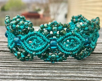 SALE Micro-Macrame Beaded Cuff Bracelet - Teal Picasso