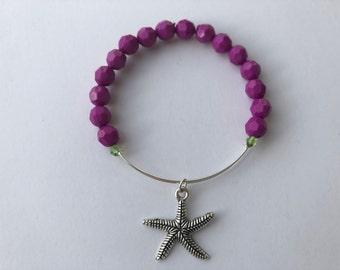 Purple beaded under the sea adjustable bracelet with starfish charm