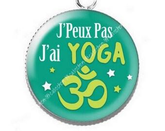 Resin cabochon pendant I can't I yoga