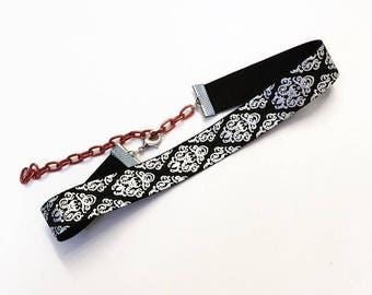 Black and Silver Damask Print Elastic Choker Necklace