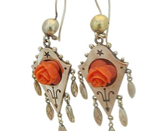 Antique Victorian Earrings Gold Drops w Dangles & Carved Coral Roses (#5025)