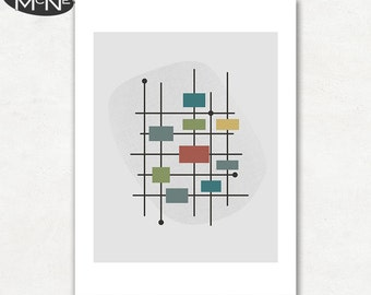 MOVEMENT (v1), Modern Mid Century Abstract, Giclee Fine Art Print for the Home Decor