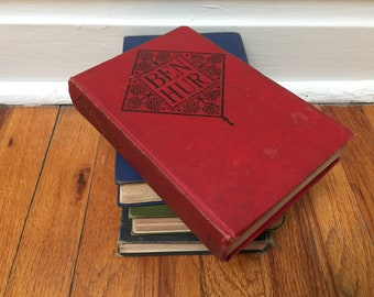Ben Hur Vintage Red Book Antique Distressed Hardcover Classic Literature