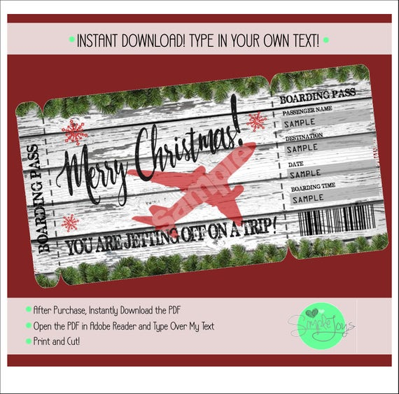 flight ticket template gift - printable christmas vacation surprise trip boarding pass