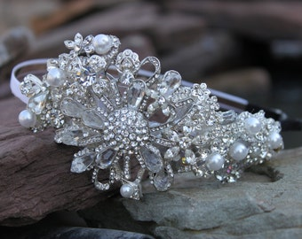 Vintage Hollywood Glamour Rhinestone and Pearl Flower Bridal Headband / Bridal Hair band