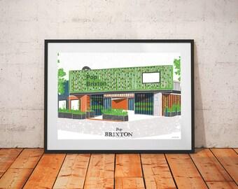 Brixton Pop Print / Brixton Landmarks / Venue Art / London Architecture Print / London Bars / Street Food Print / Fathers Day Gift