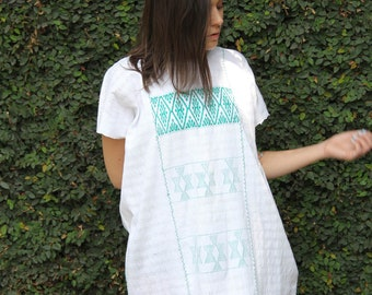 White with pale turquoise  Huipil Dress Handwoven