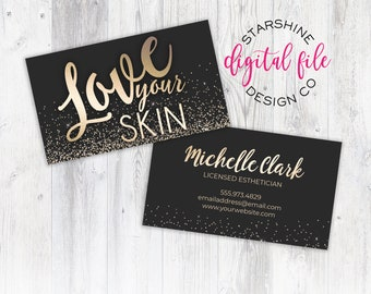 Esthetician business cards etsy licensed esthetician business card personalized business card design skincare company business card love your skin printable digital file fbccfo Images