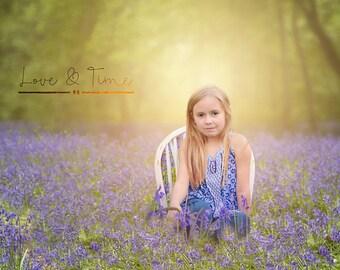 Digital Backdrop / Digital background /Bluebell Flower- Instant Downloads