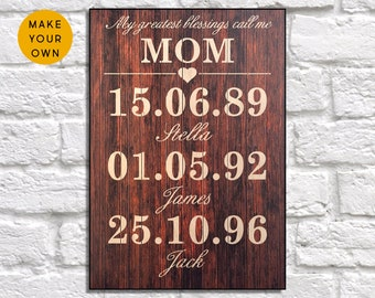 Personalised Mothers day gift Wood wall art Gift for Mom gift for Mothers day gift for Mother gift for Grandma gift Panel effect Wood sign