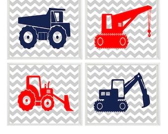 Construction Wall Art, Boy Nursery Prints, Navy Blue Red, Chevron Print, Construction Nursery, Big Boy Room, Toddler Room Art, Boy Art Print
