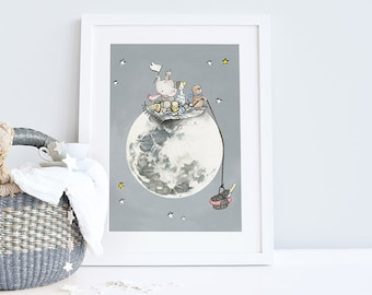 UNFRAMED Children's Moon Art, Space theme Nursery, Kid's bedroom decor, Picture for Baby, Moon and Stars Print, Name and date can be added!