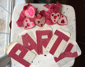 Valentines Homemade Crepe Paper Decorations, Garland and Red Crepe Paper Letters, Red Heart Decor, Handmade Valentines Decorations, WTH-1600
