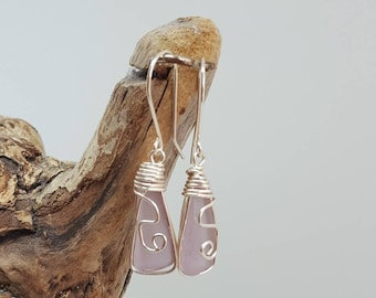 Lavender seaglass Earrings/ silver/wirewrapped