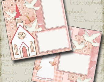 BAPTISM GIRL - 2 Premade Scrapbook Pages - EZ Layout 443