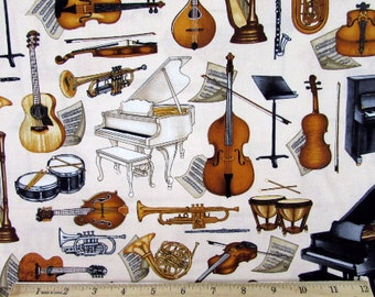 Dan Morris Perfect Pitch Musical Instruments Cream Fabric From RJR