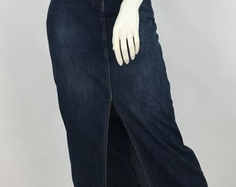 Vintage 90s jean skirt, 1990s jean skirt, 80s/90s contrast jean skirt