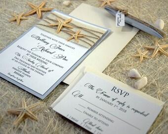 Custom Invitations, Burlap Wedding Invitation, Beach Wedding Invitation, Destination Wedding Invitation, Unique Wedding Invitation - SAMPLE