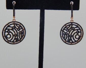 Earrings bridal earrings Crystal, black diamond earring gold plated, Crystal, rose gold, gift engagement, bridesmaid earrings,
