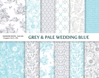 Grey and Blue Digital papers, wedding digital paper, damask digital paper, floral digital paper, scrapbook paper - 440